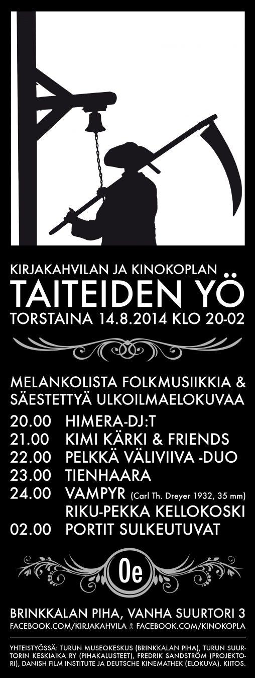 20140814 Kirjakahvilan Taiteiden yö FINAL A3