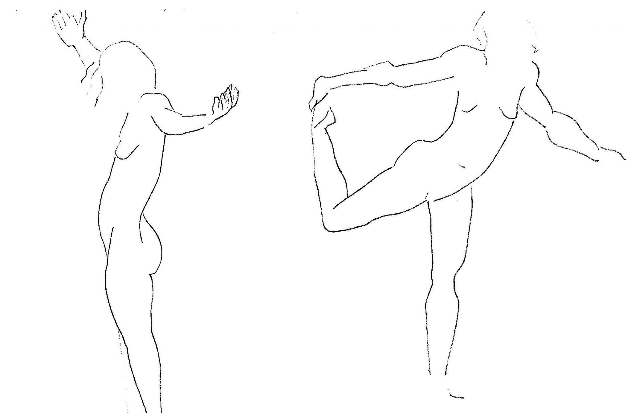 kuvassa kaksi mustekynällä piirrettyä naisoletettua, joista vasemmanpuoleinen on levittänyt kätensä ja oikeanpuoleinen seisoo yhdellä jalalla